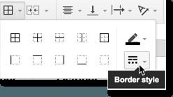 Sheets > Borders > Border styles