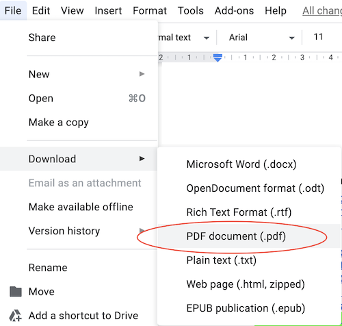 How to export a Google Doc as a PDF