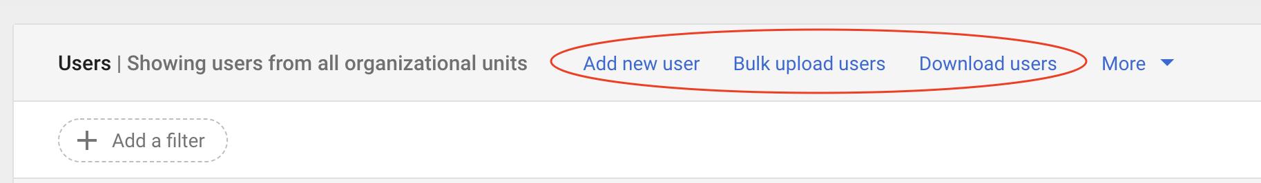 Admin console - add users
