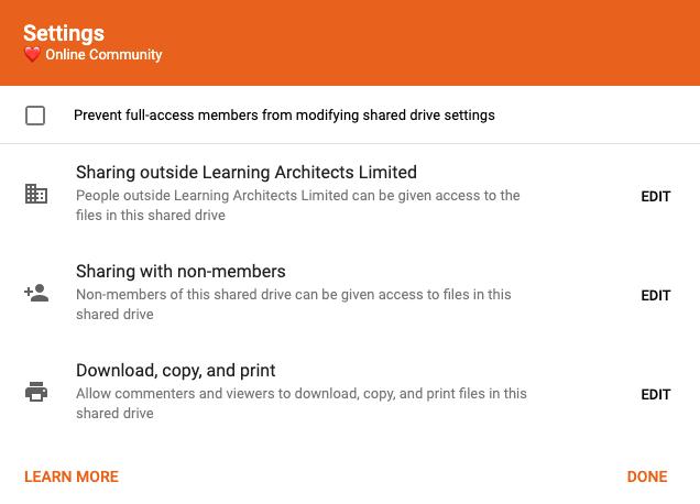 Shared drive setting options